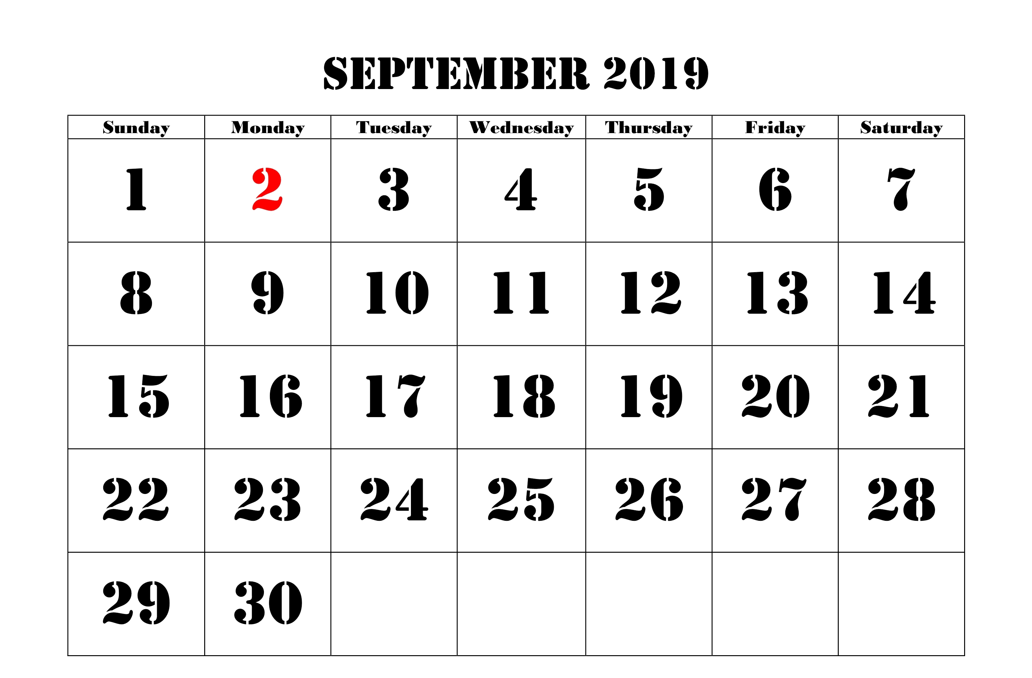 September 2019 Calendar with Holidays US