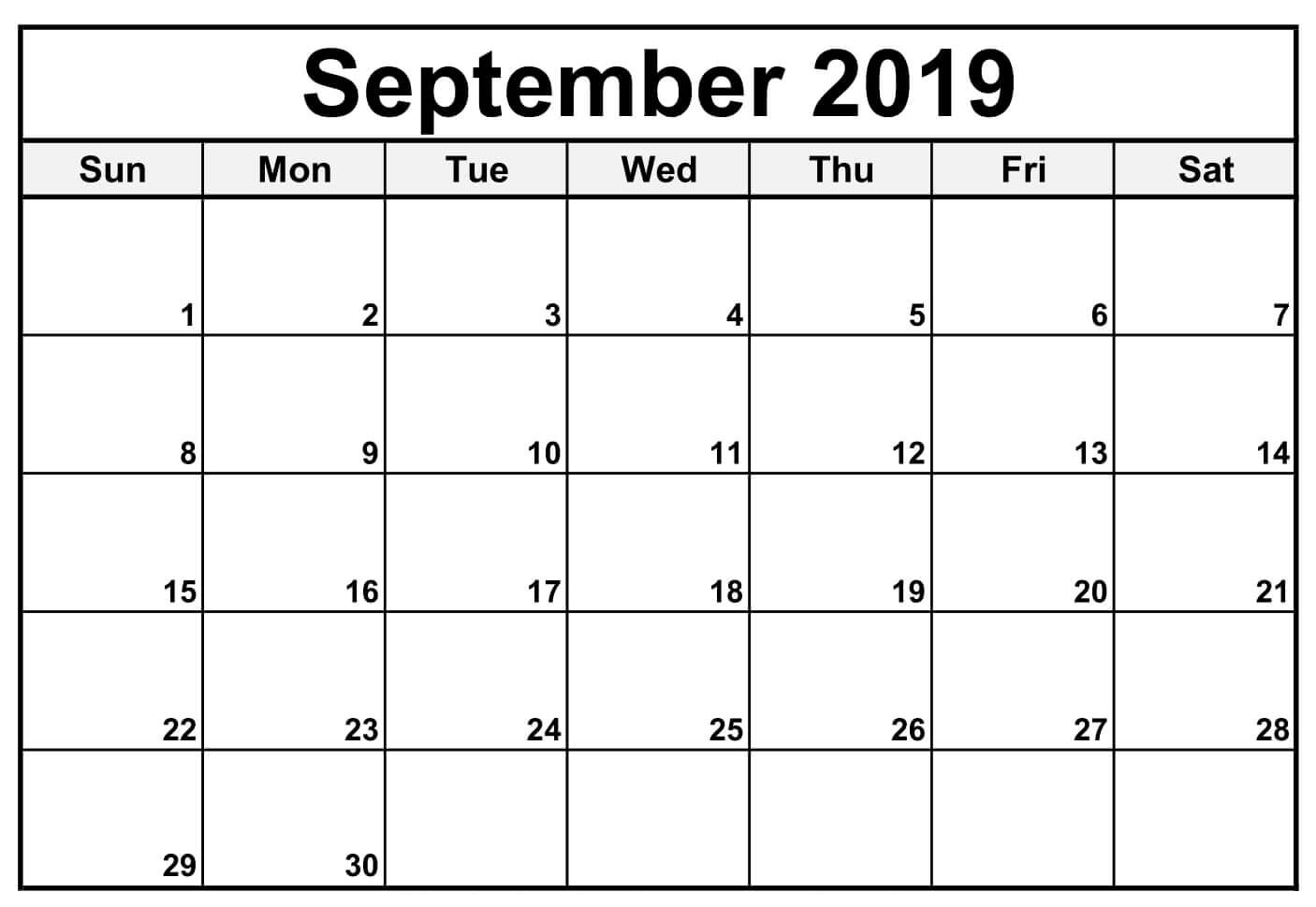 September 2019 Printable Calendar Fillable