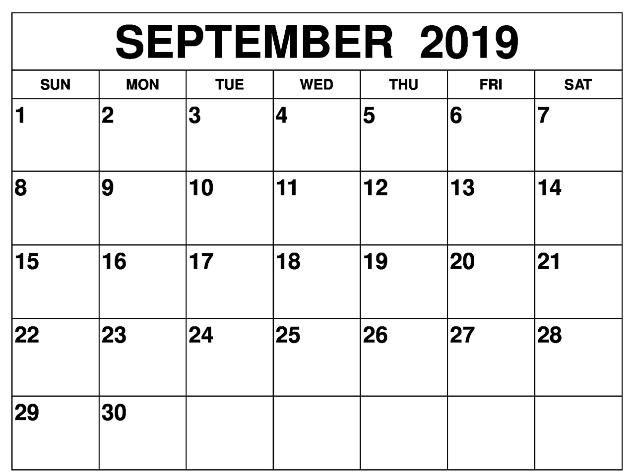 image regarding Printable Calendar Template named ✅ September 2019 Printable Calendar, Blank Templates