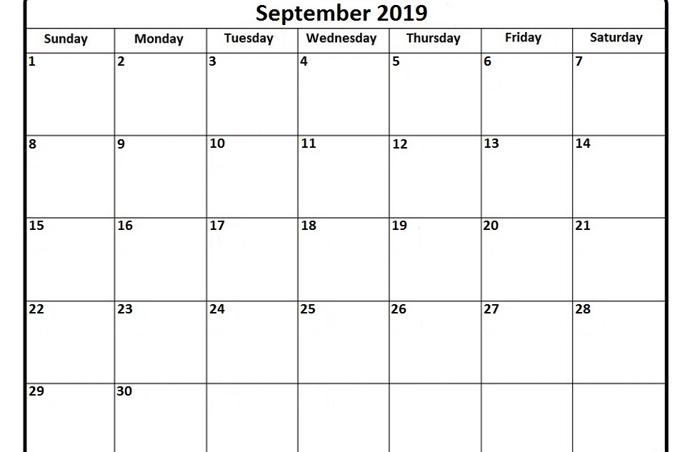 ✅ September 2019 Printable Calendar, Blank Templates | Printable