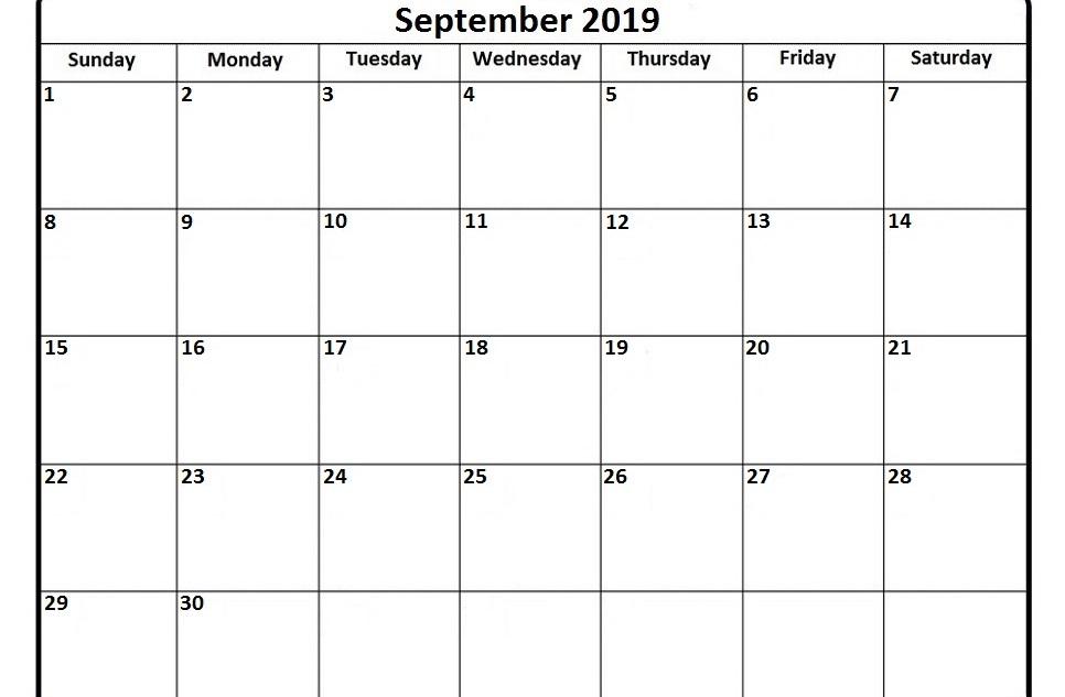 September Printable Calendar 2019