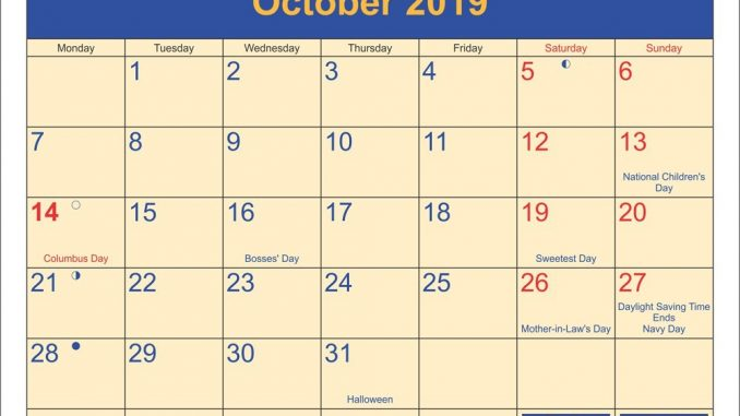 Printable October 2019 Calendar with Holidays with Notes