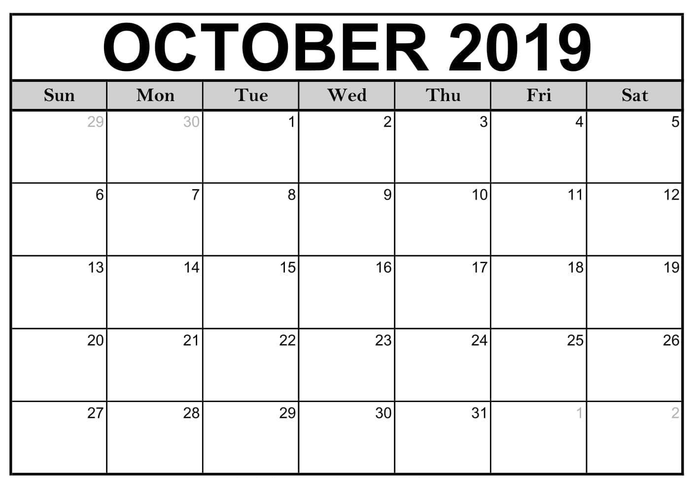 Calendar For October 2019 PDF