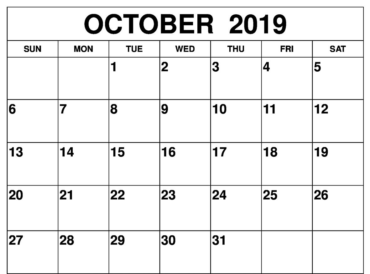 Calendar For October 2019 Printable
