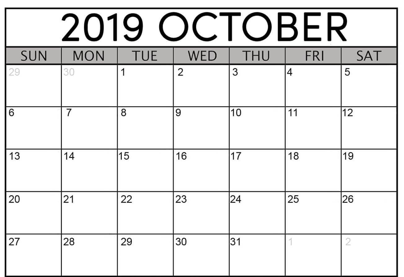 Calendar For October 2019 Word