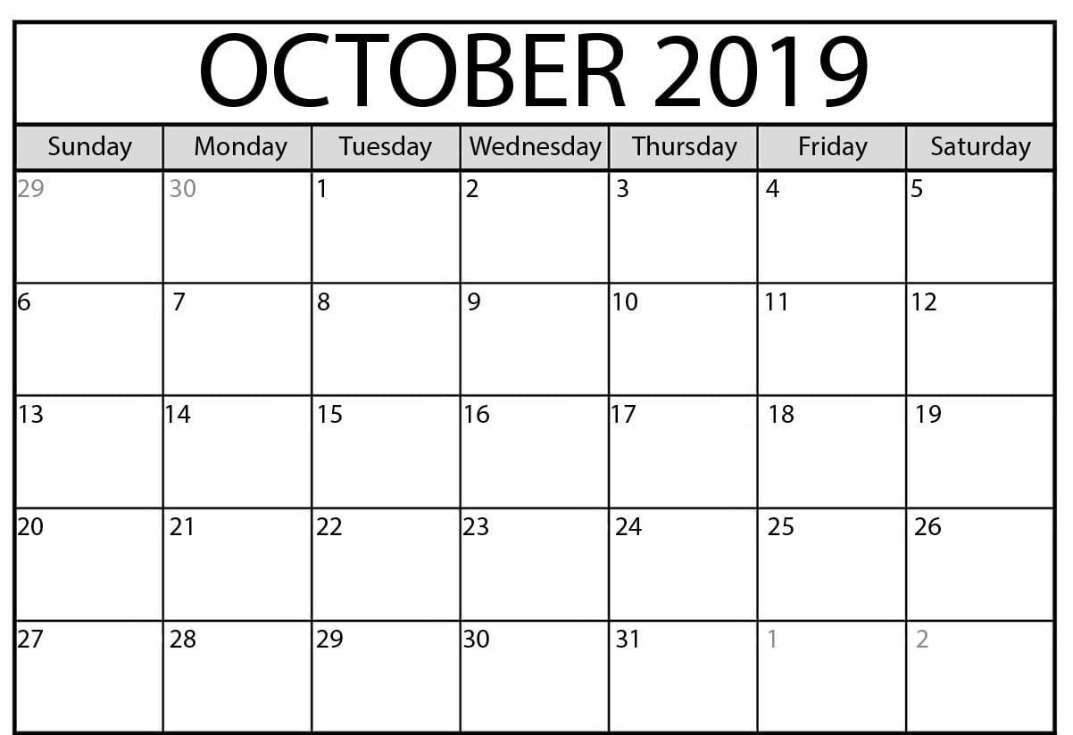 Calendar For October 2019
