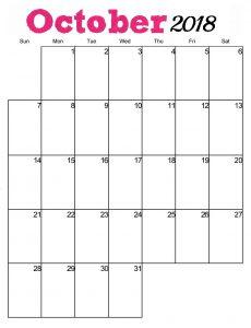 Calendar October 2018 Printable Page