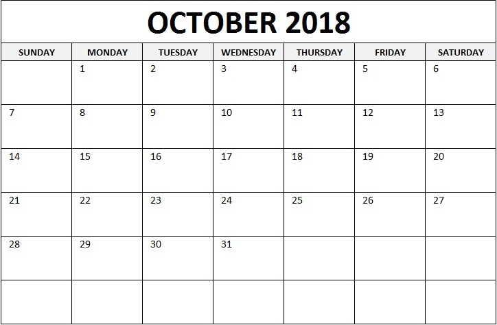 Printable Calendar For October 2018 Blank Template Download
