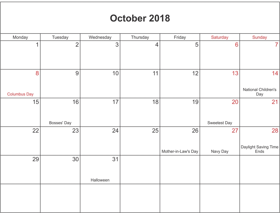 Calendar October 2018 With Holidays – Printable 2018 Calendar inside Calendar October 2018 With Holidays