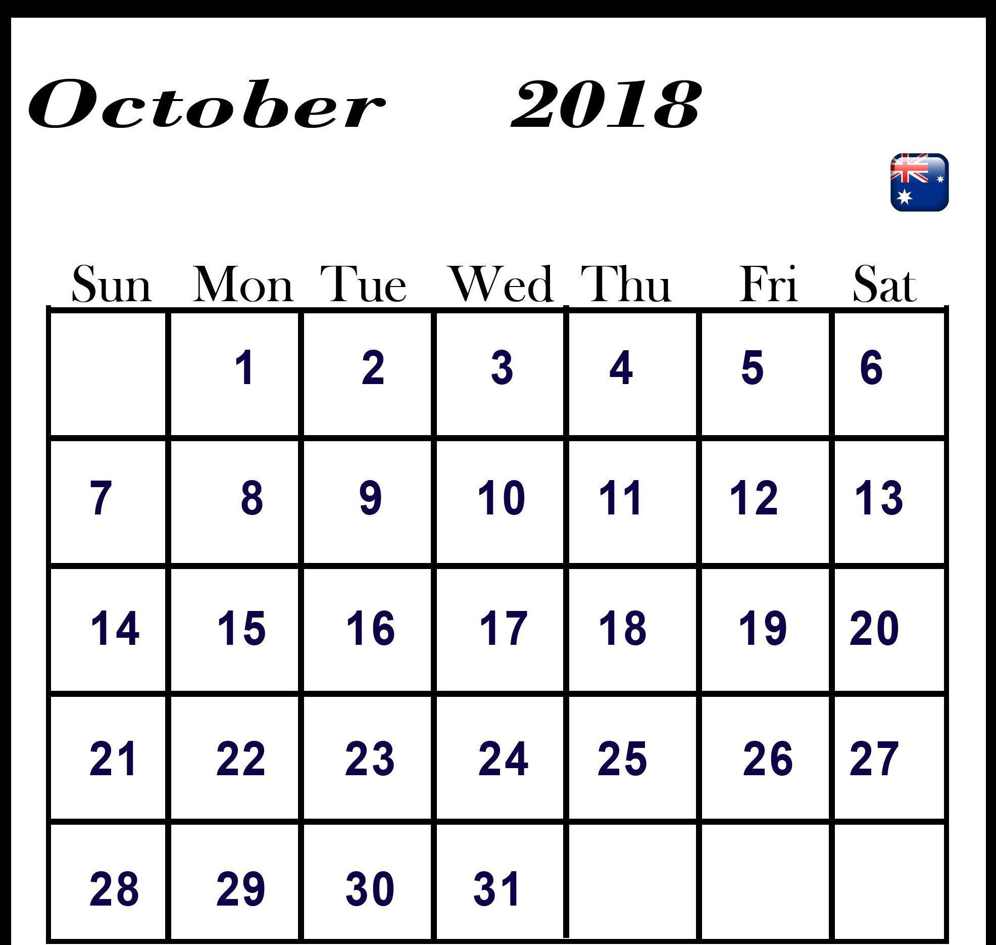 Calendar for October 2018 Australia