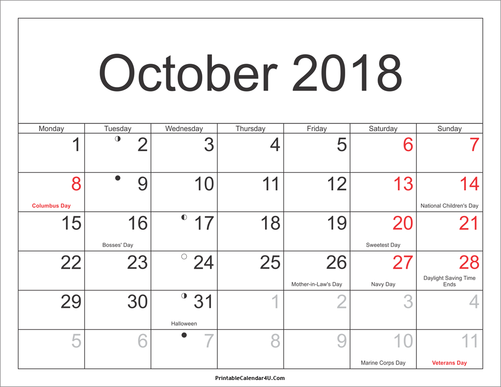 Calendar for October 2018 Excel to Print