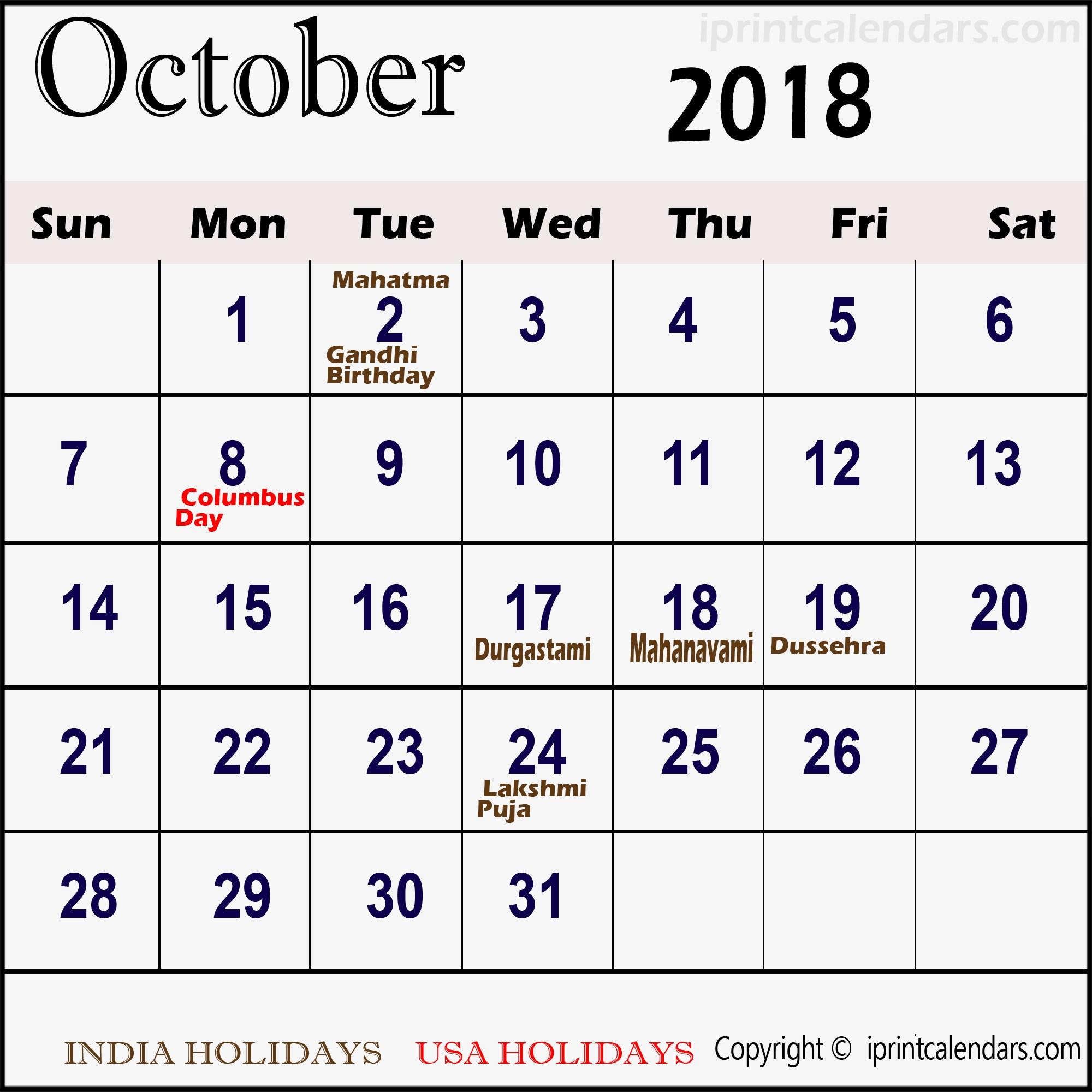 Calendar for October 2018 Malaysia