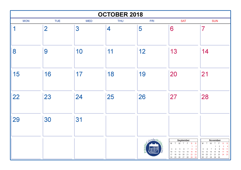 Calendar for October 2018 NZ