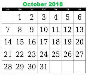 Calendar for October 2018 South Africa