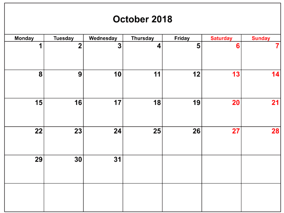 Calendar for October 2018 USA