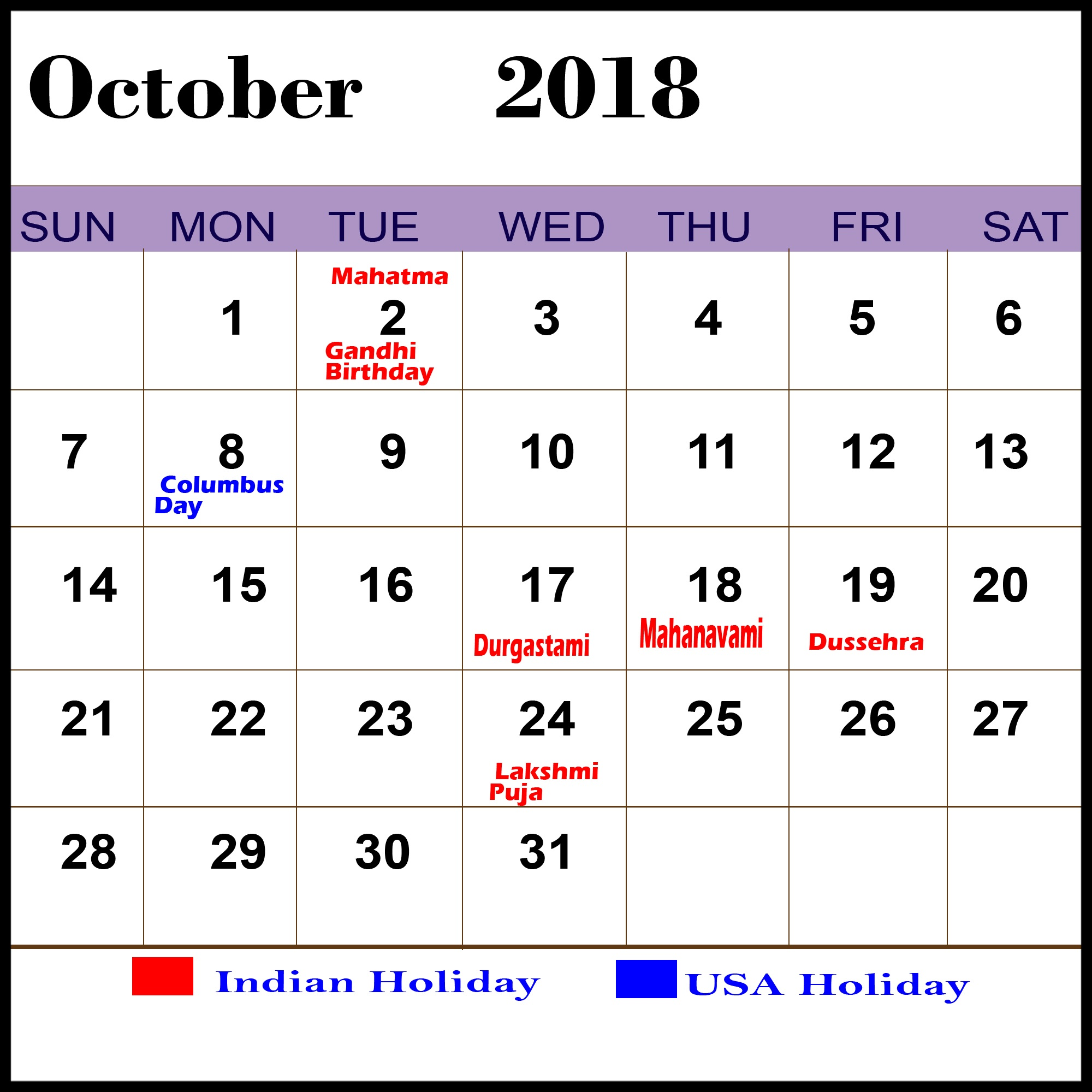 Holiday Calendar October 2018 Download