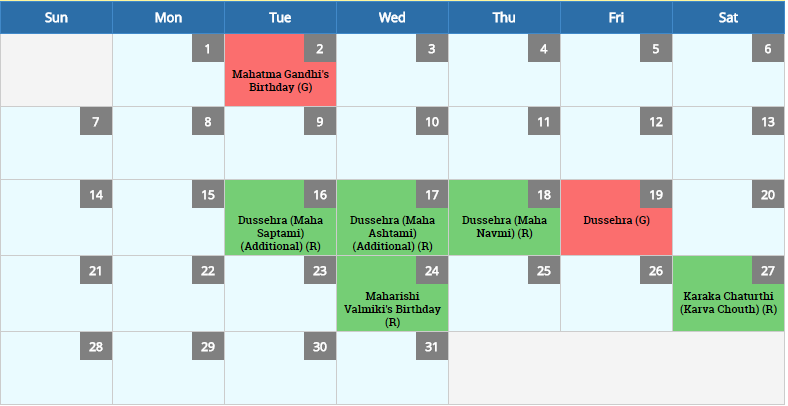 October 2018 Calendar And Holidays