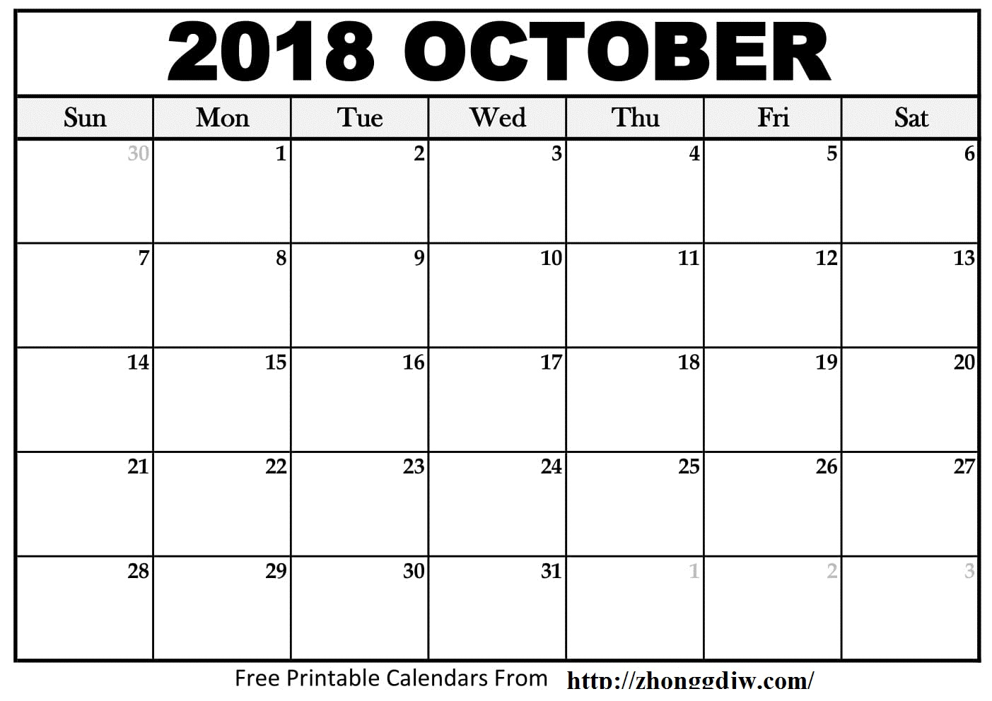 graphic relating to Oct Calendar Printable Pdf called Oct 2018 Calendar PDF - Cost-free August 2019 Calendar