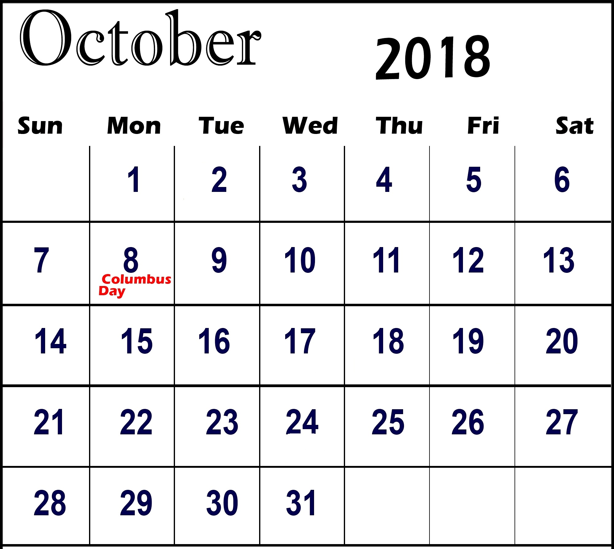October 2018 Calendar With USA School Holidays Printable