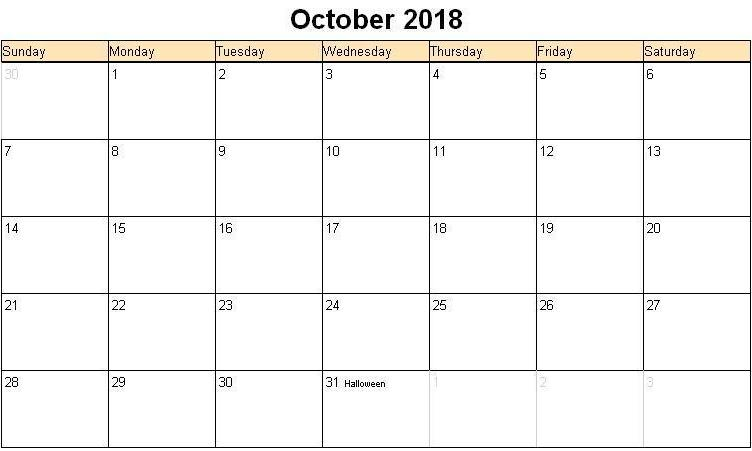 October 2018 Calendar With Holidays Print