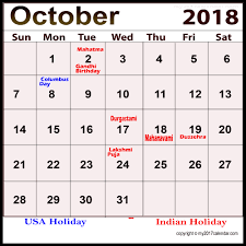 October 2018 Holiday Calendar