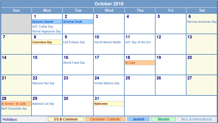 October 2018 Holidays Calendar