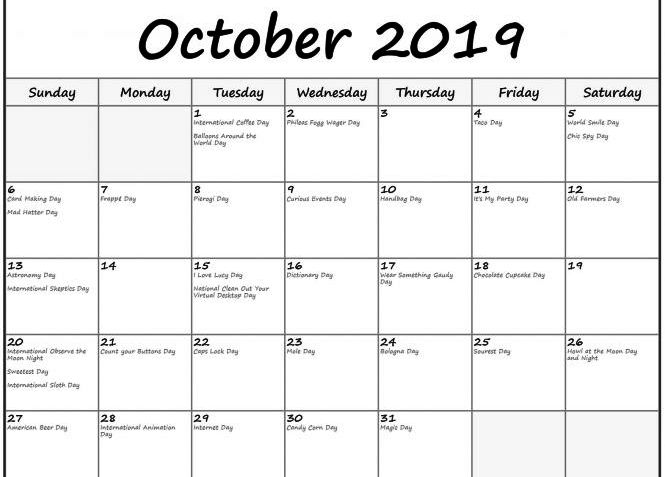 2019 October Calendar with Holidays