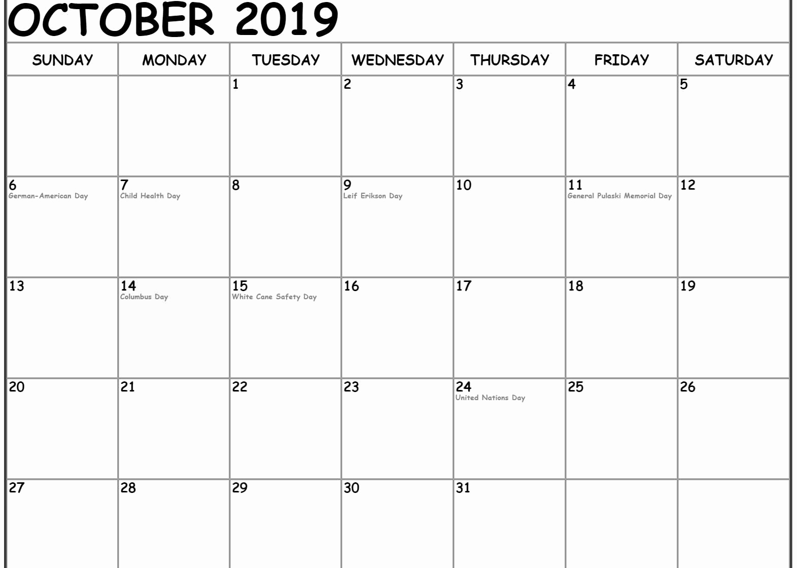October 2019 Calendar With Holidays Canada