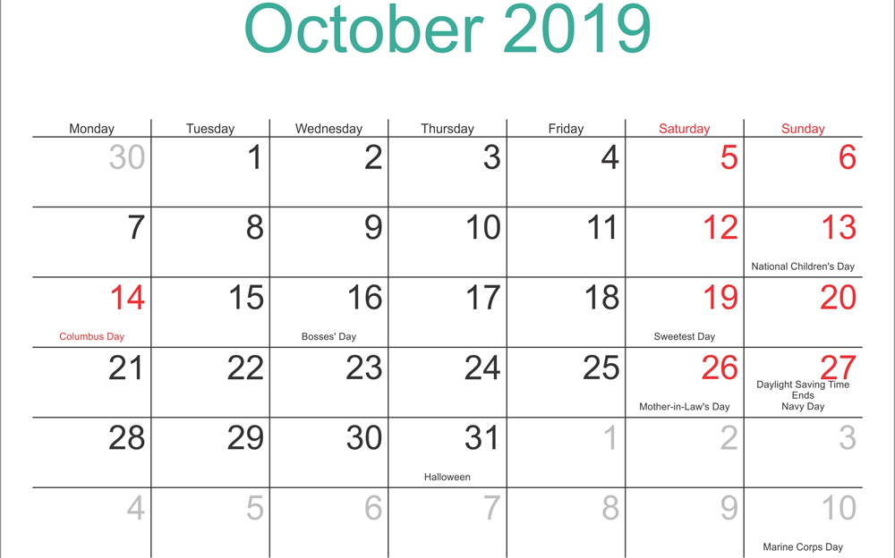 October 2019 Calendar With Holidays UK