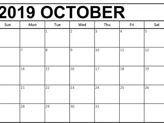 October 2019 Calendar with Notes Page