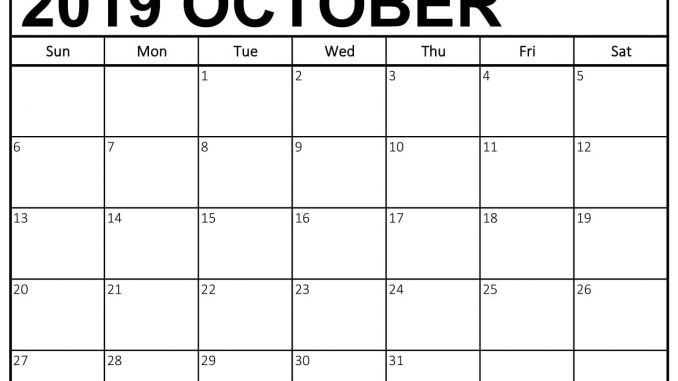 photograph about Oct Calendar Printable Pdf named No cost Oct 2019 Calendar Printable Template PDF Notes Webpage