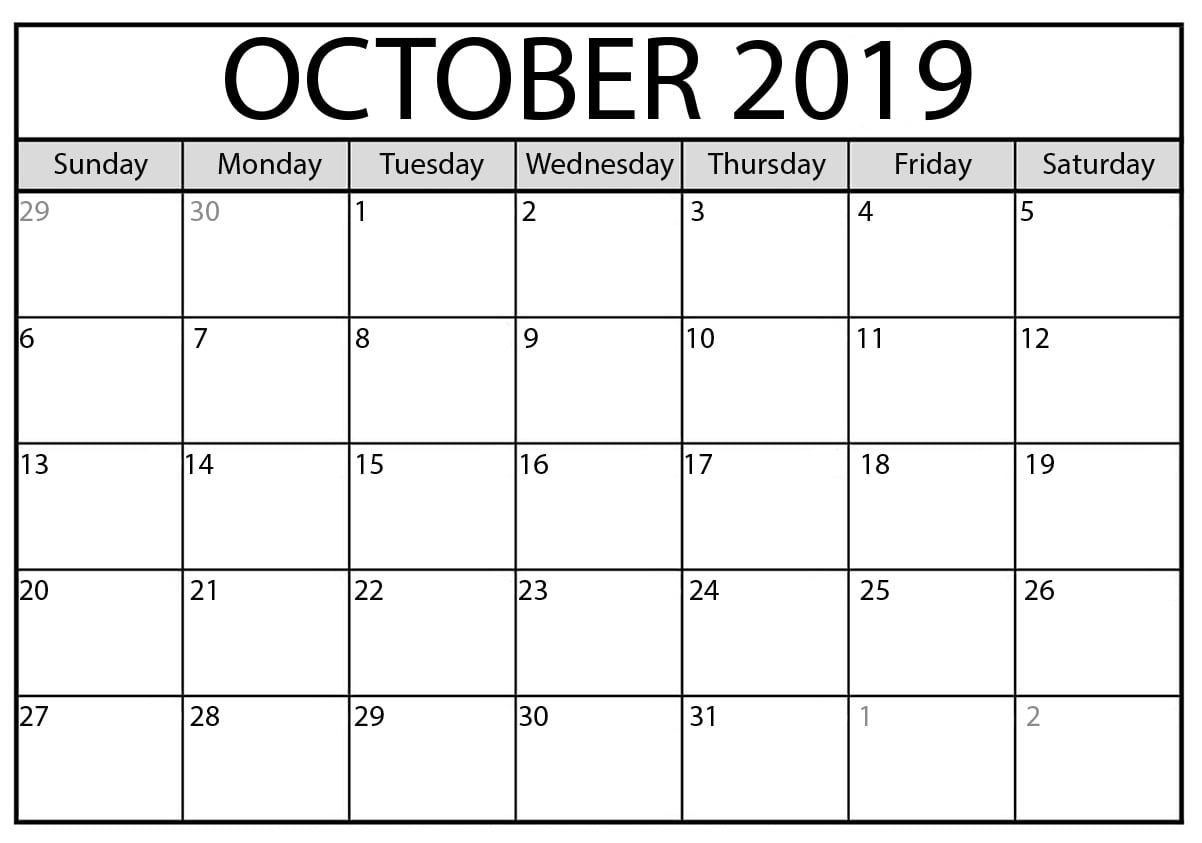 October Calendar 2019 Printable Template