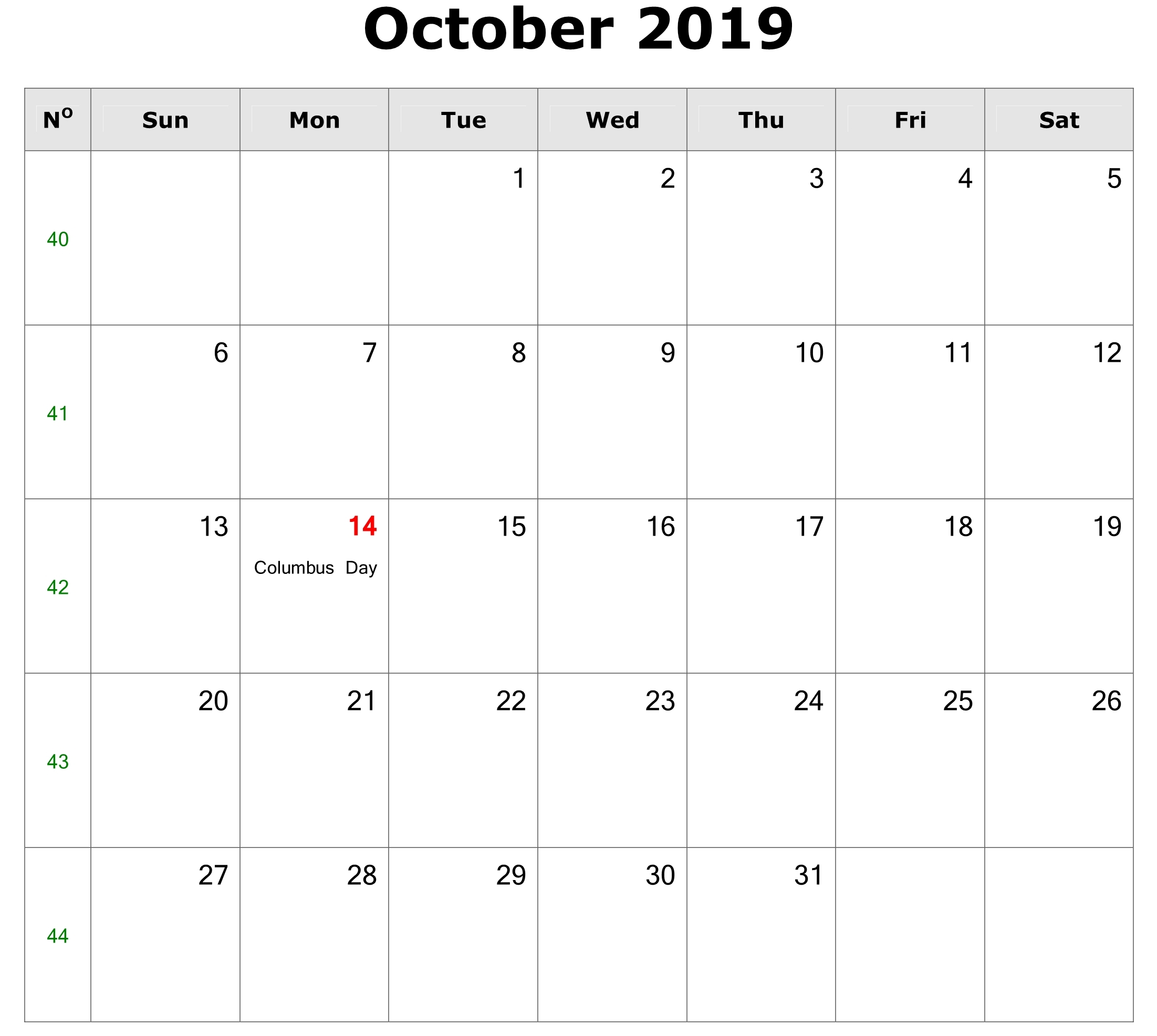 October Calendar 2019 with Holidays