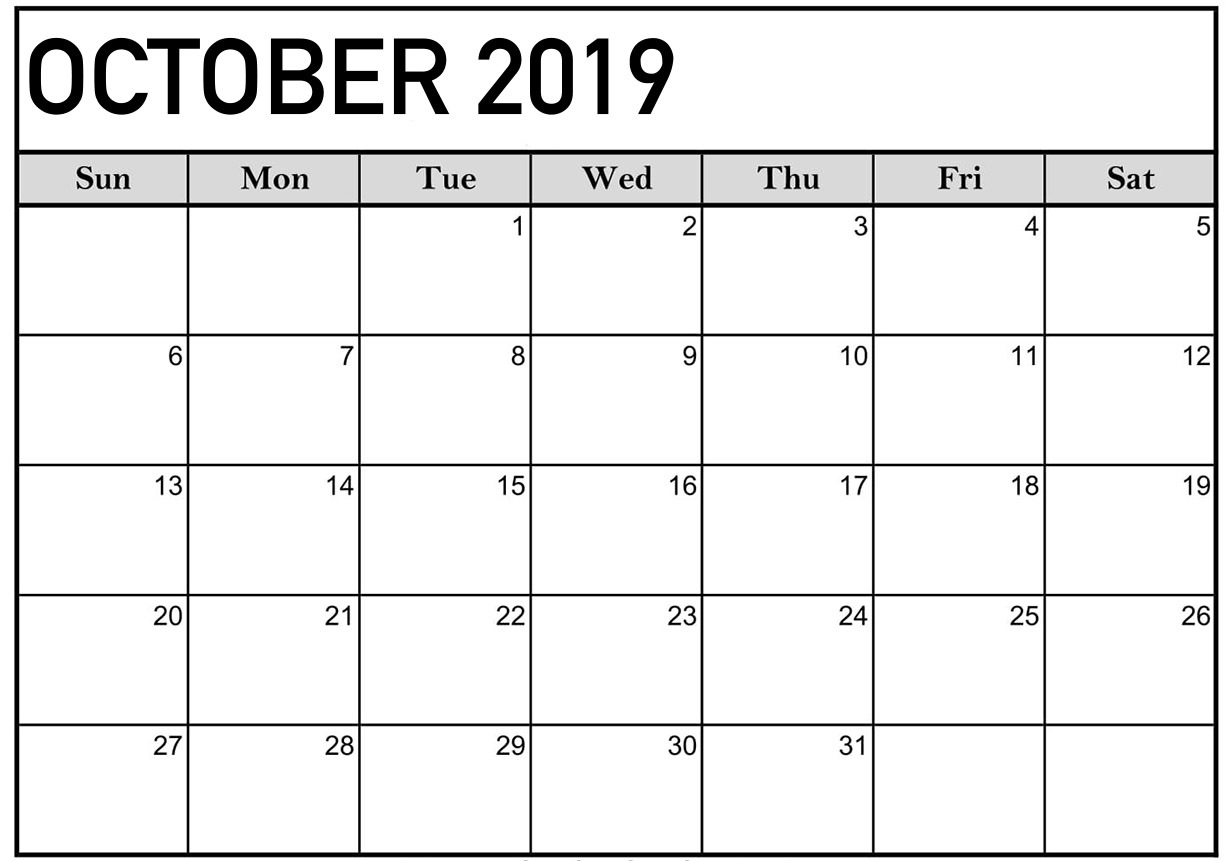 image about Free Printable October Calendar referred to as Printable 2019 Oct Calendar Blank - Free of charge August 2019