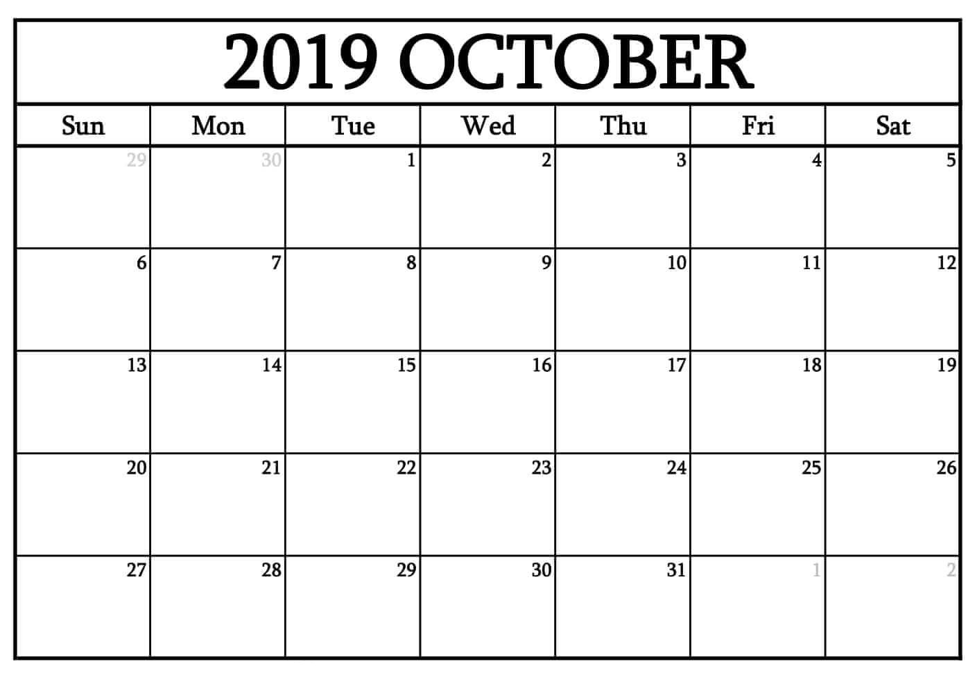 graphic about Oct Calendar Printable Pdf named ✅ Printable Calendar For Oct 2019 Blank Template Obtain