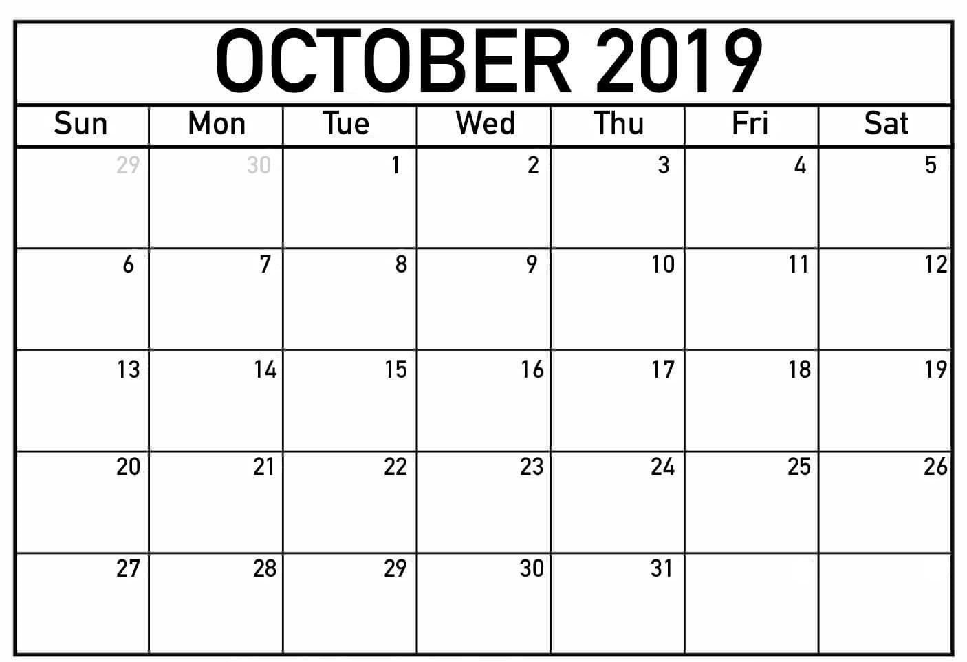 photograph about October Calendar Printable identified as Printable Calendar of Oct 2019 - Absolutely free August 2019