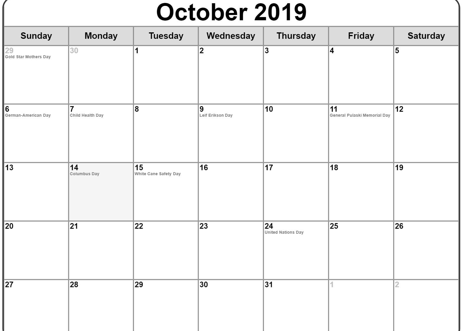 Printable October 2019 Calendar Holidays