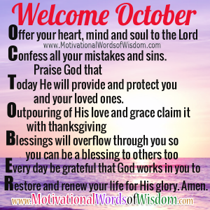 Welcome October Inspirational word Quotes
