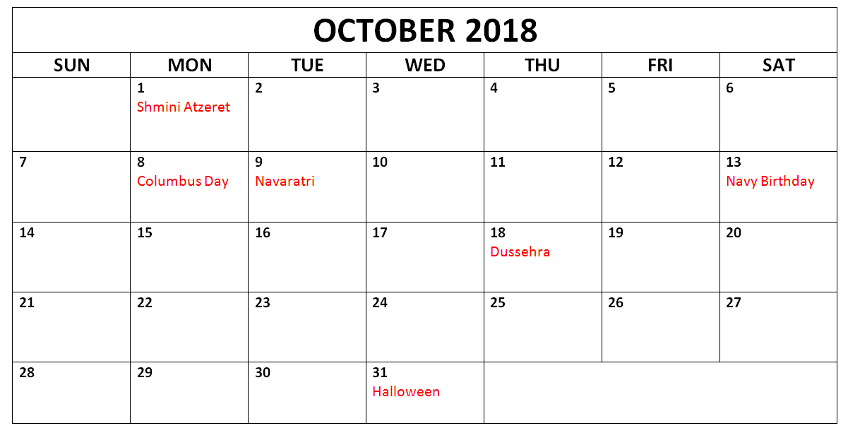 october 2018 holidays calendars