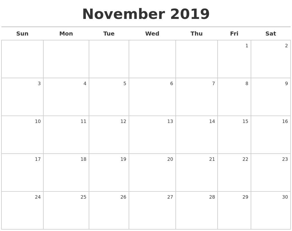 Blank November 2019 Calendar Online