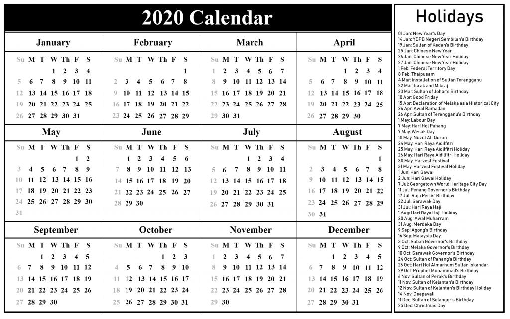 Calendar 2020 Printable Templates