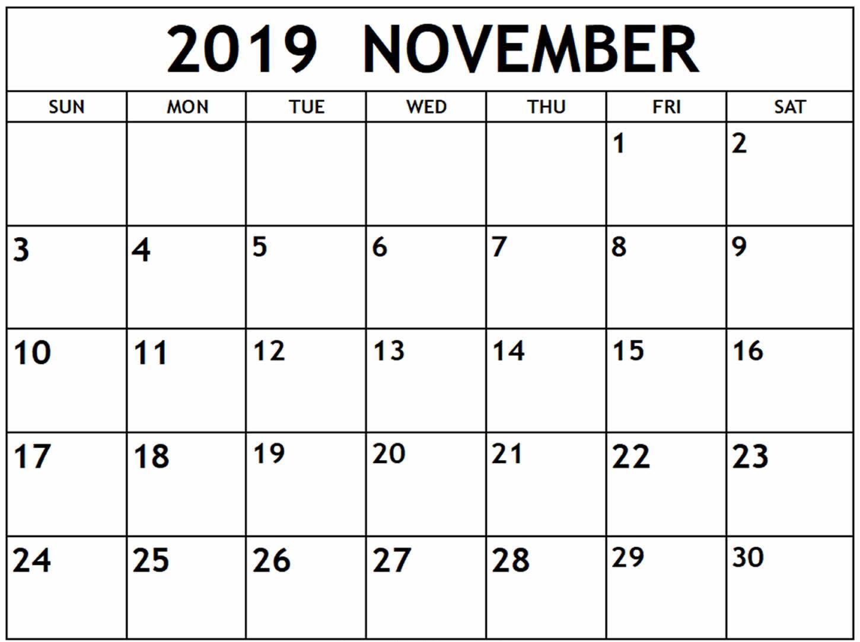 Calendar of November 2019 Template