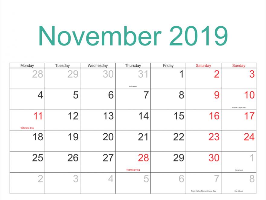 Free November 2019 Printable Calendar