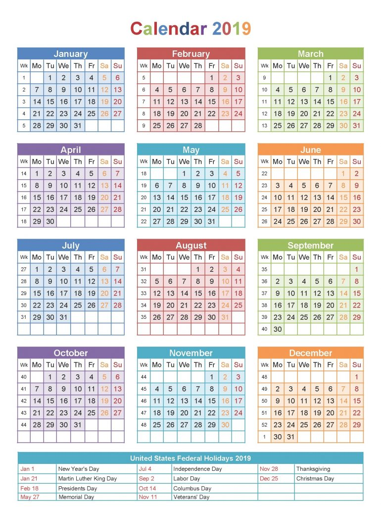 Free Printable Blank Calendar 2019 With Usa Holidays Download