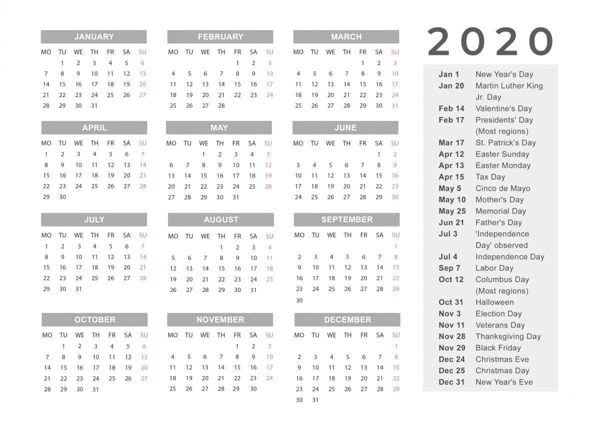 Holidays Calendar 2020