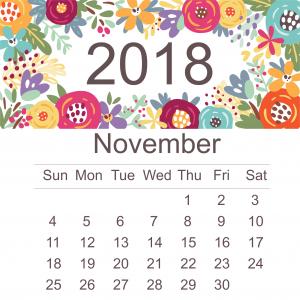 Monthly Calendar 2018 November