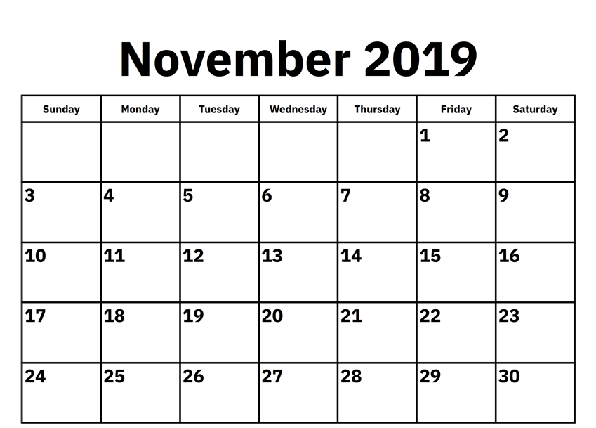 Monthly November Calendar 2019 Download