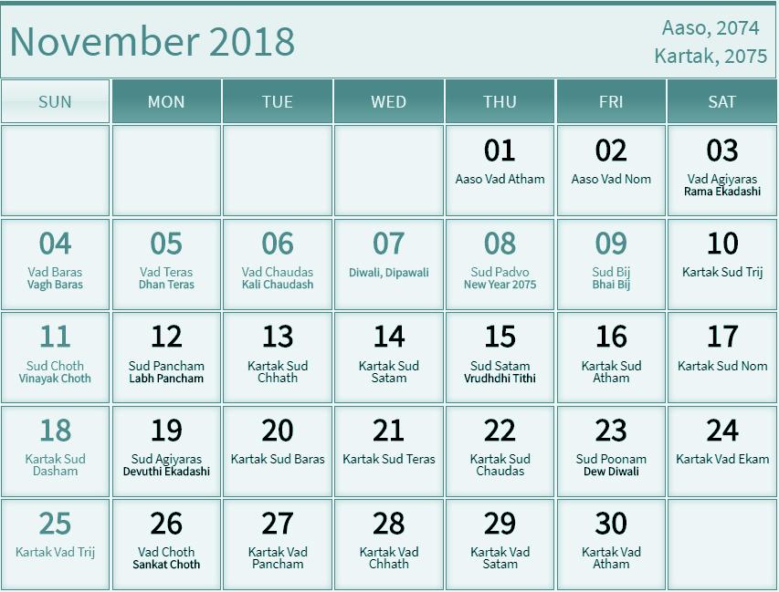 November 2018 Calendar Hindu Panchang