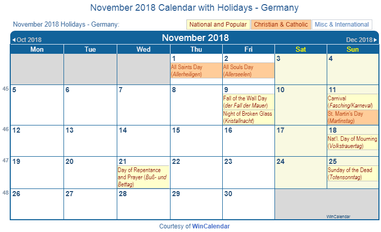 November 2018 Calendar with DEU Holidays
