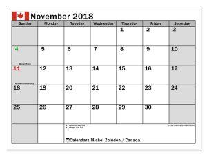 November 2018 Calendar with Holidays Canada